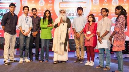 Sadhguru with student debaters at the ThinkEdu Conclave, Chennai, Jan 2014