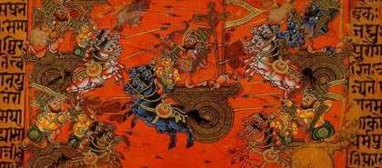 Battle of Kurukshetra, Manuscript Illustration - Krishna in Mahabharata – Treachery at Kurukshetra