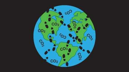 Footprints on the globe with CO2 - Want to Reduce Your Carbon Footprint? Try Planting Trees!