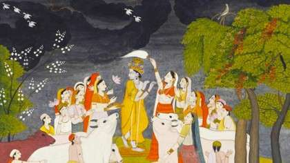Krishna with flute, cows, gopis and herdsmen - Even Krishna is Governed by the Laws of the Physical