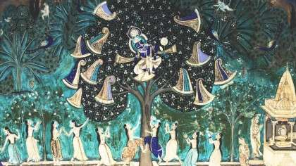 Loveable Thief, Krishna Steals Gopis Clothes, Painting in Bundi Garh Palace
