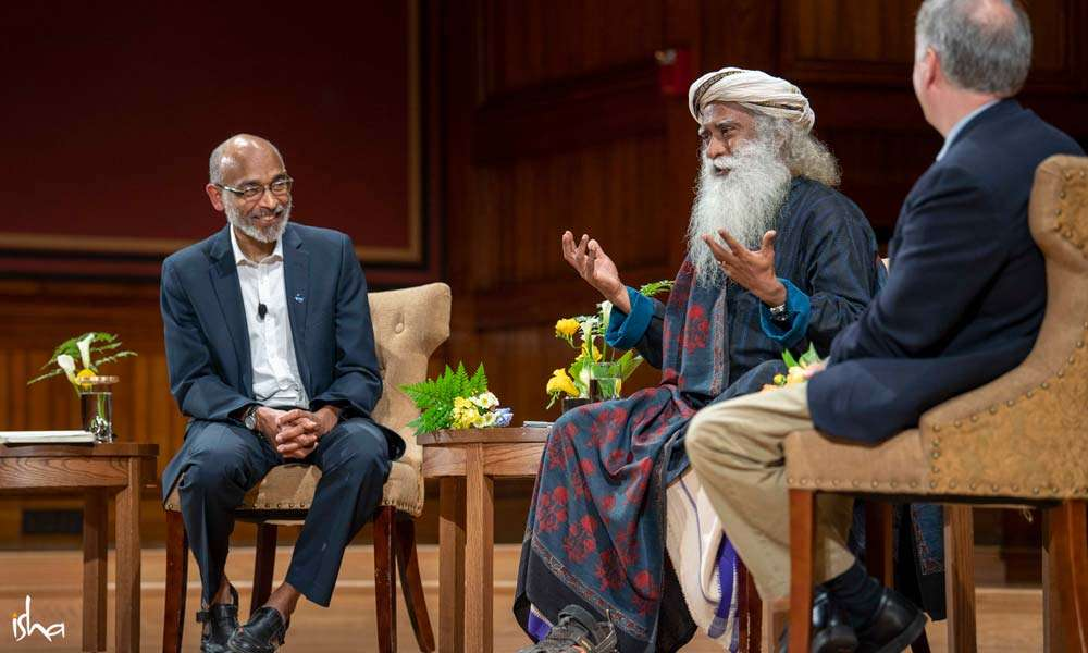 Prof. Emery N. Brown, Prof. Nicholas D. Schiff, and Sadhguru in conversation at Harvard University