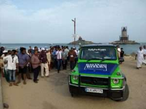 Sadhguru arives at Kanyakumari for Rally for Rivers