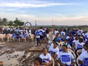 Voluntees await for Rally for Rivers at Tirchy