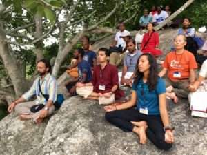 Meditators at Sadhguru Spot