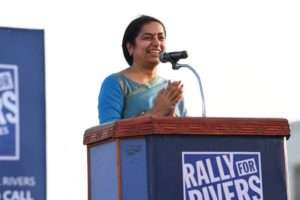 Actor Suhasini Maniratnam at the event for Rally for Rivers at Kanyakumari
