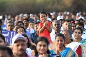 The crowd of Kanyakumari in support of Rally for Rivers