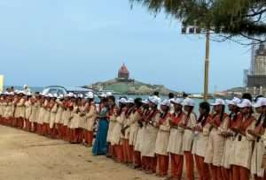 Students of Isha Vidya, Kanyakumari stand to welcome the Rally troup