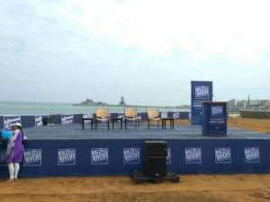 Stage set up for the Launch of Rally for Rivers at Kanyakumari