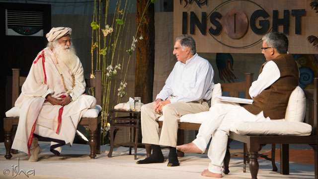 Sadhguru and Ratan Tata at the Isha INSIGHT 2014 Leadership Program