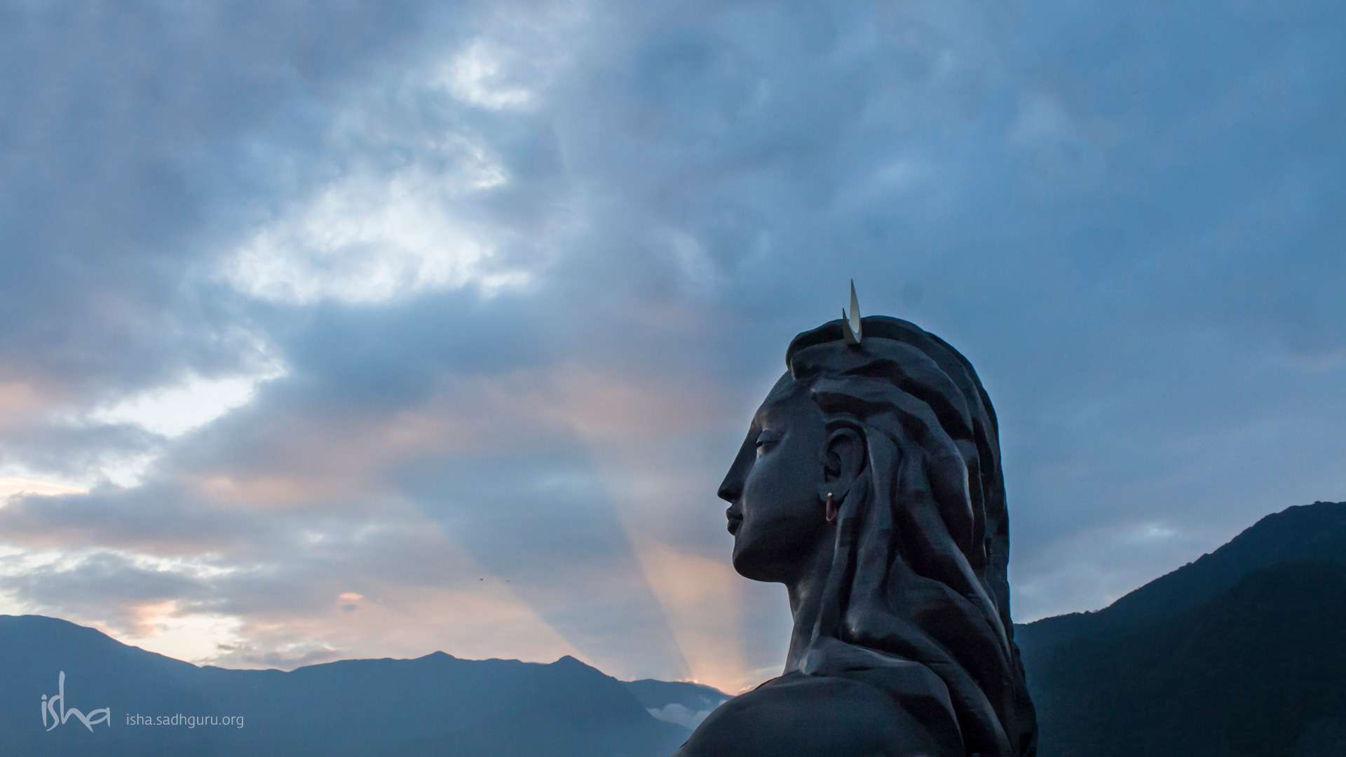 Mahashivratri Images  - The Adiyogi with setting Sun