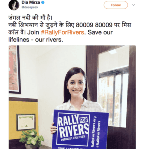 Female actor Dia Mirza supports for Rally For Rivers