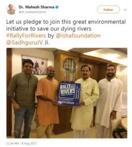 Dr.Mahaesh Sharma supports for Rally for Rivers