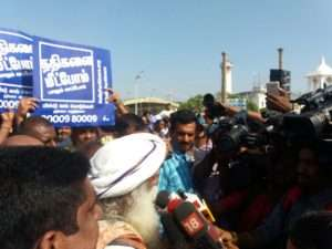 Sadhguru with media at Pondicherry