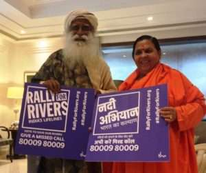 Uma Bharathi supports for Rally for Rivers