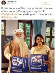 Shaina NC, Union Minister supports for Rally for Rivers