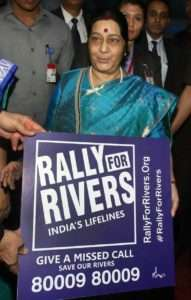 Sushma Swaraj, Cabinate minister supports for Rally for Rivers