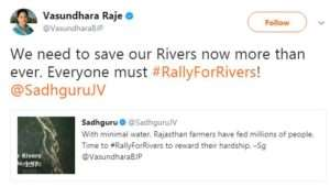 Vasundara Raje, Chief ministrer, Rajastan supports for Rally for Rivers
