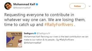 Mohammad Kaif, cricketer supports for Rally for Rivers