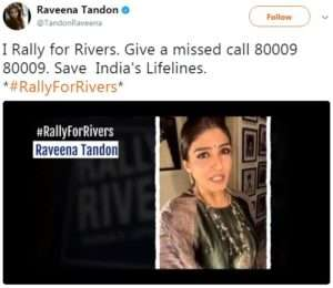 Actor Raveena Tandon supports for Rally For Rivers