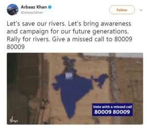 Actor Arbaaz Khan suports for Rally For Rivers