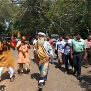 Sadhguru arrives at Thiruvananthapuram