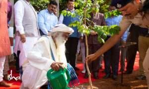 Sadhguru watering a plant wrold environment day 2019