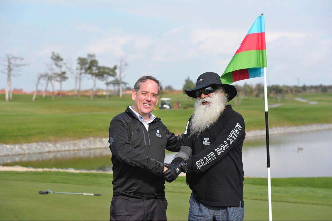 Sadhguru with PGA golfer Phil Jones in Baku