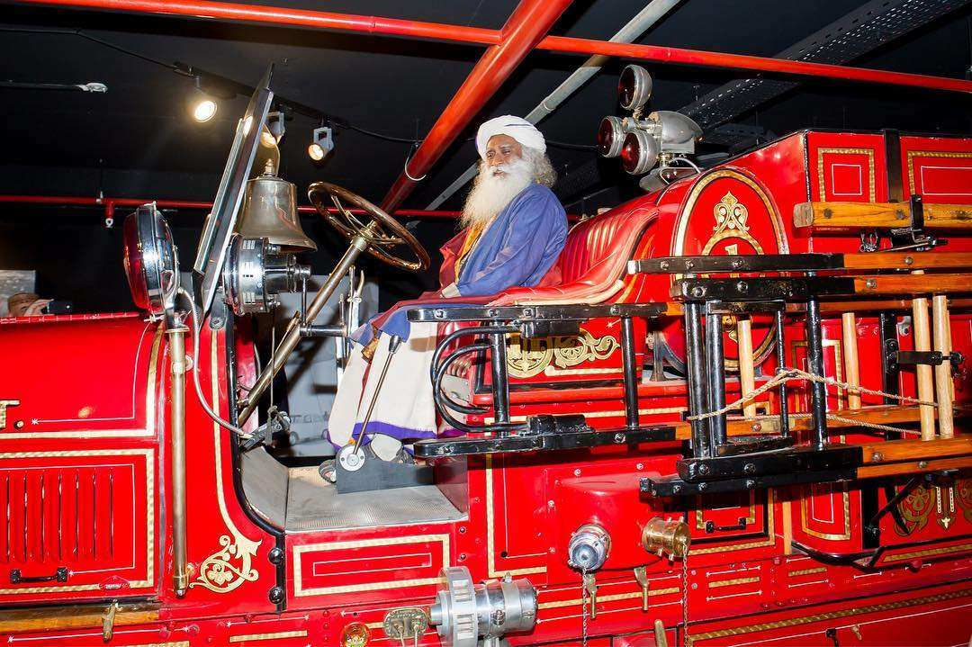 Sadhguru at the car museum in Baku, Kiev
